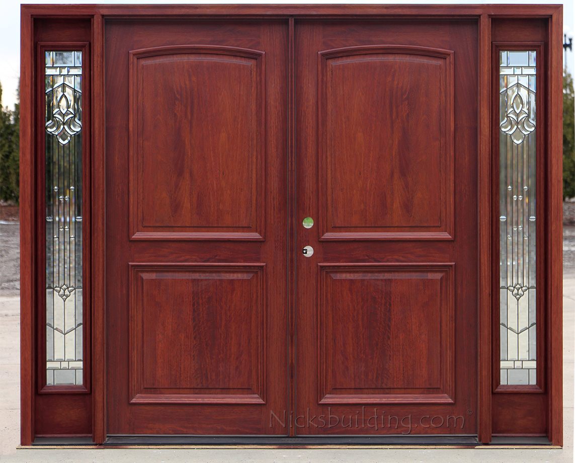 Exterior double doors with sidelights solid mahogany doors for Mahogany exterior door