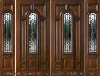 Exterior Double Doors with Sidelights - Solid Mahogany Doors
