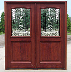 2 panel exterior double doors with iron glass