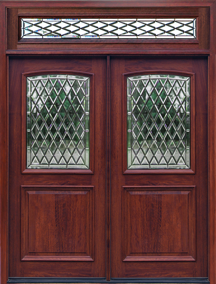 2 panel double doors with transom chateau glass - Exterior Double Doors