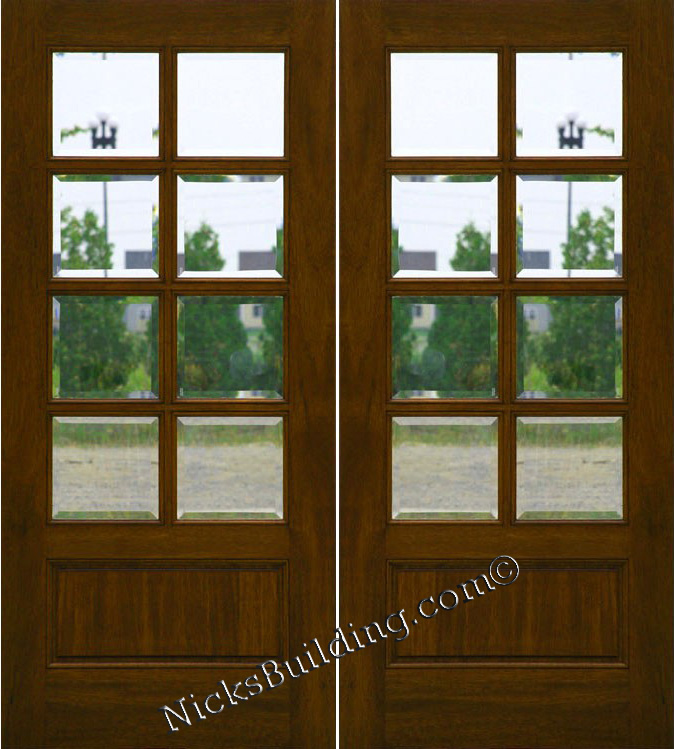 Mahogany patio doors 8 lite french doors clear beveled glass for Double hung french patio doors