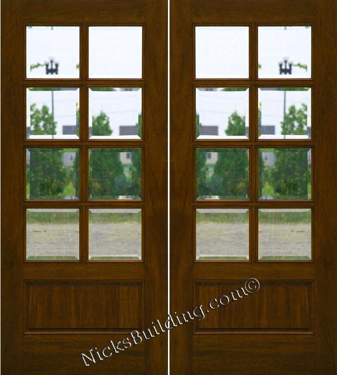 Mahogany Patio Doors 8 Lite French Doors Clear Beveled Glass