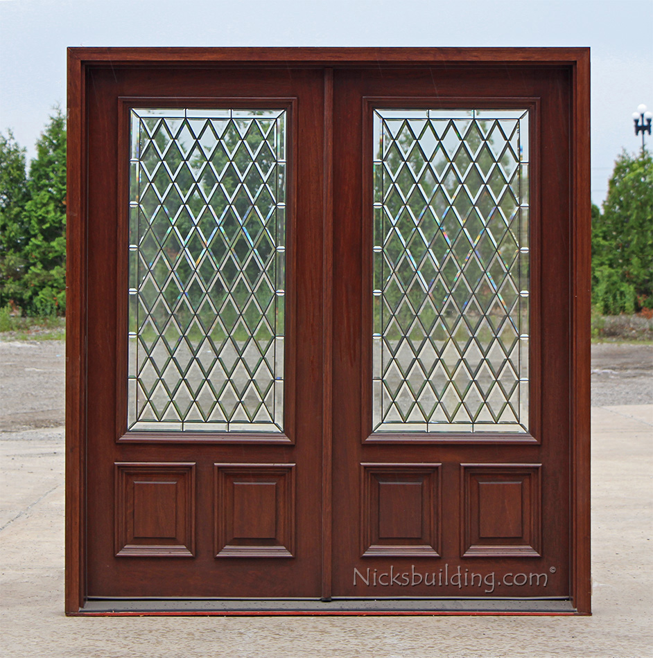 Exterior double doors solid mahogany wood double doors for Double opening front doors