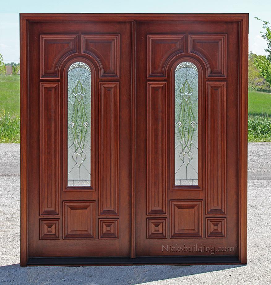 Exterior double doors solid mahogany wood double doors for Solid hardwood doors exterior