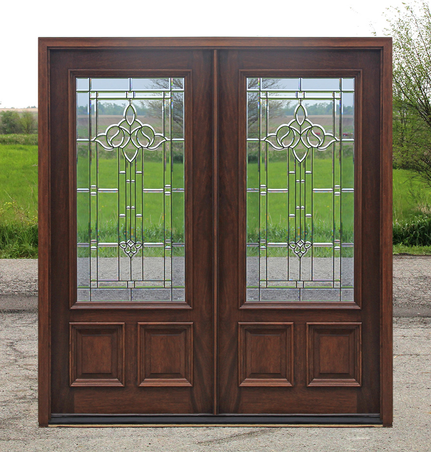 Exterior double doors solid mahogany wood double doors for Outside doors with glass