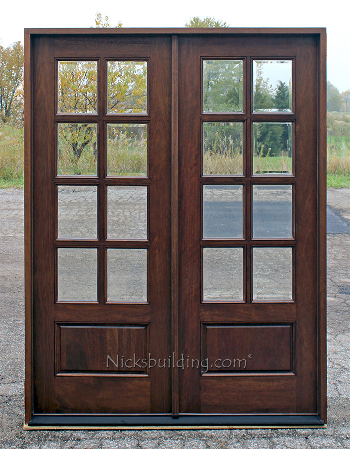 Double doors 3 4 arch mahogany prehung double wood door for Solid french doors exterior
