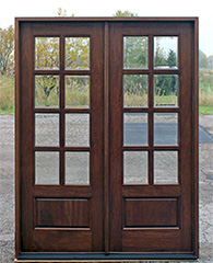 Exterior double doors solid mahogany wood double doors for Small exterior french doors