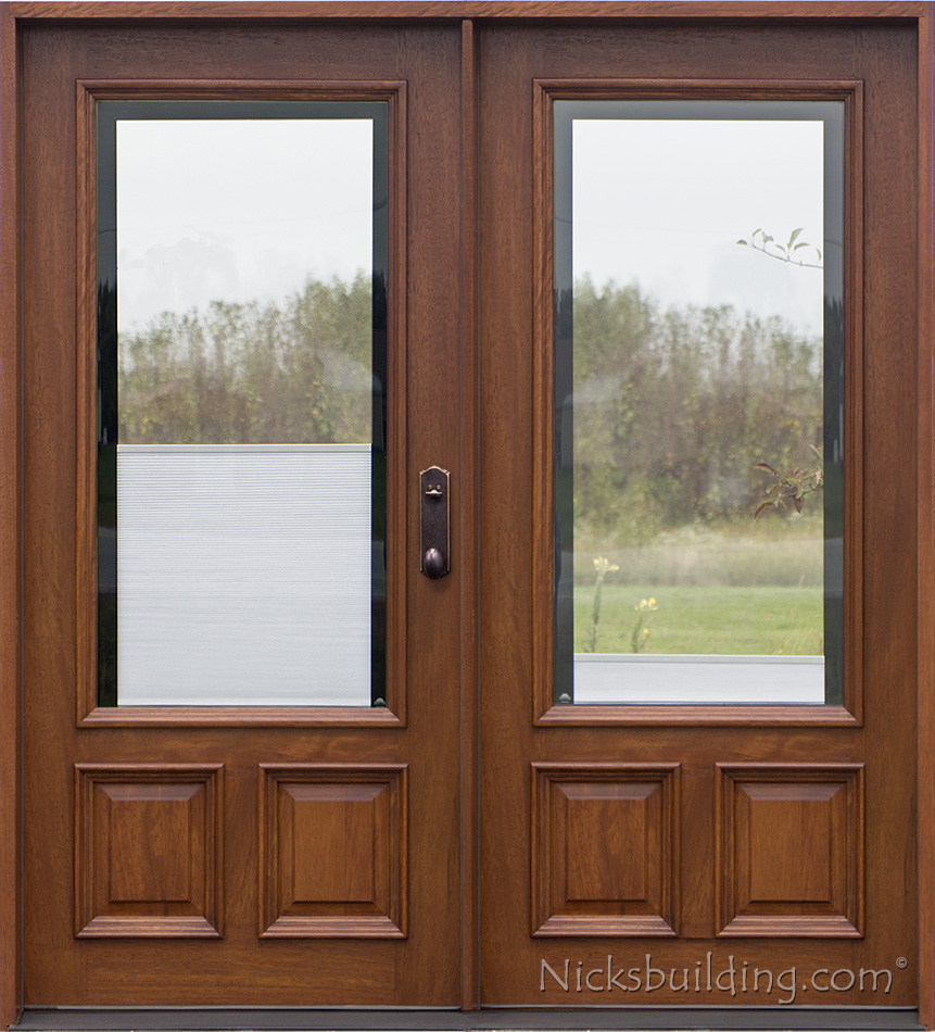 Double doors 3 4 arch mahogany prehung double wood door for Wood door with glass