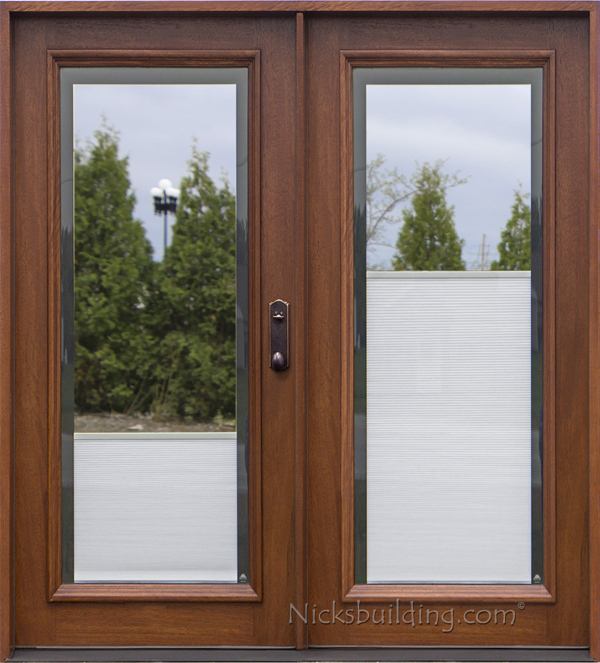 Exterior double doors solid mahogany wood double doors for Full window exterior door