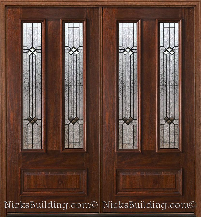 Exterior double doors solid mahogany wood double doors for Solid entrance doors