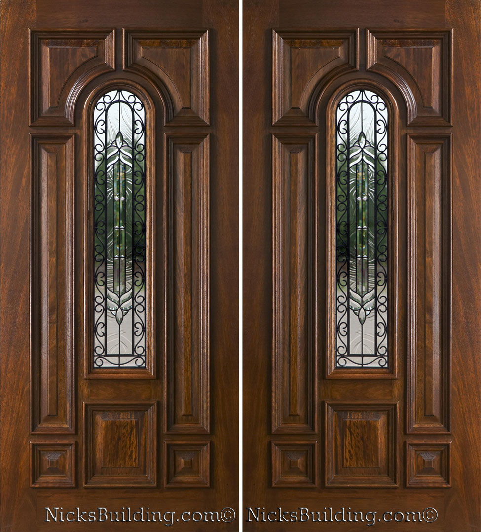 Exterior double doors solid mahogany wood double doors for Wood front entry doors