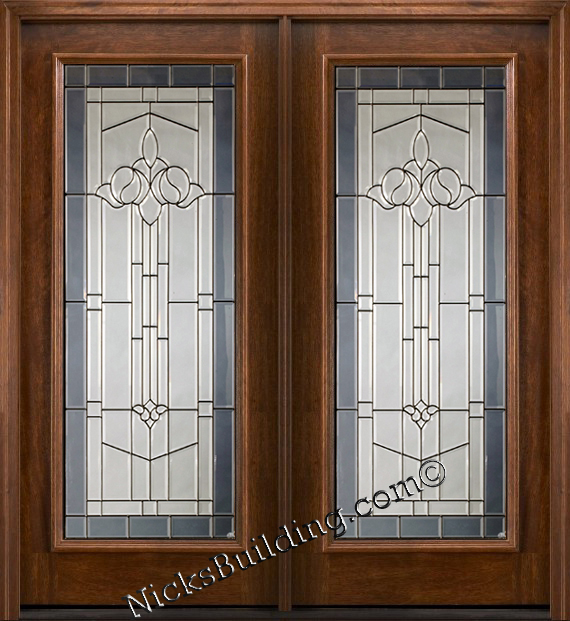 Wood patio doors mahogany full lite french doors for Full glass patio door