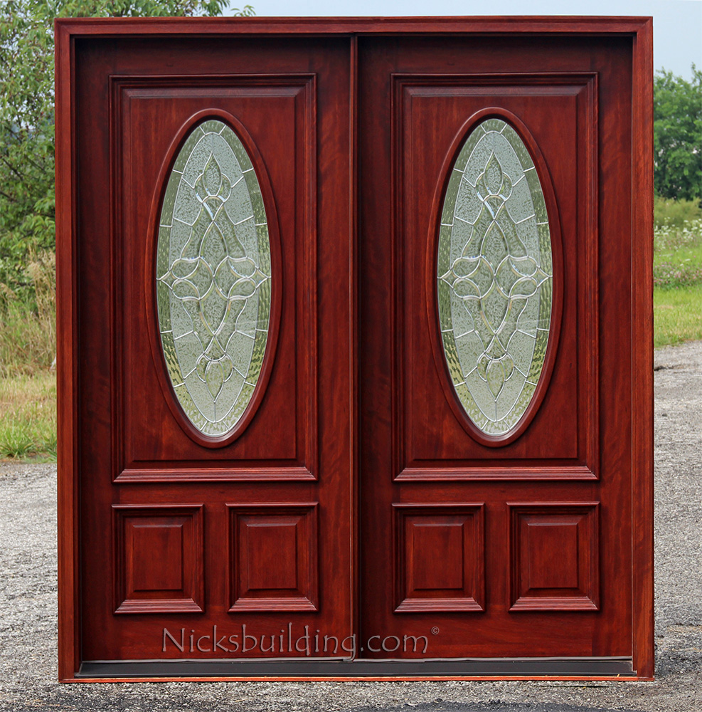 Exterior double doors solid mahogany wood double doors for Double wood doors with glass