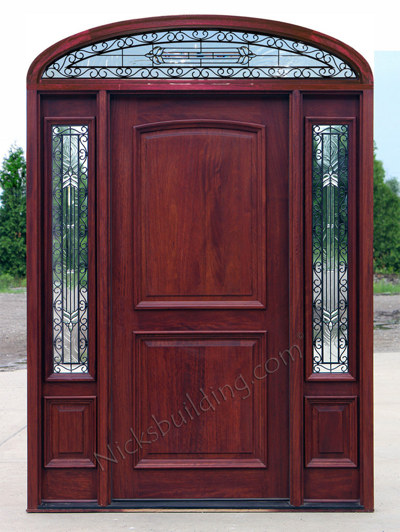 Mahogany doors with elliptical transoms 6 39 8 for Solid glass exterior door