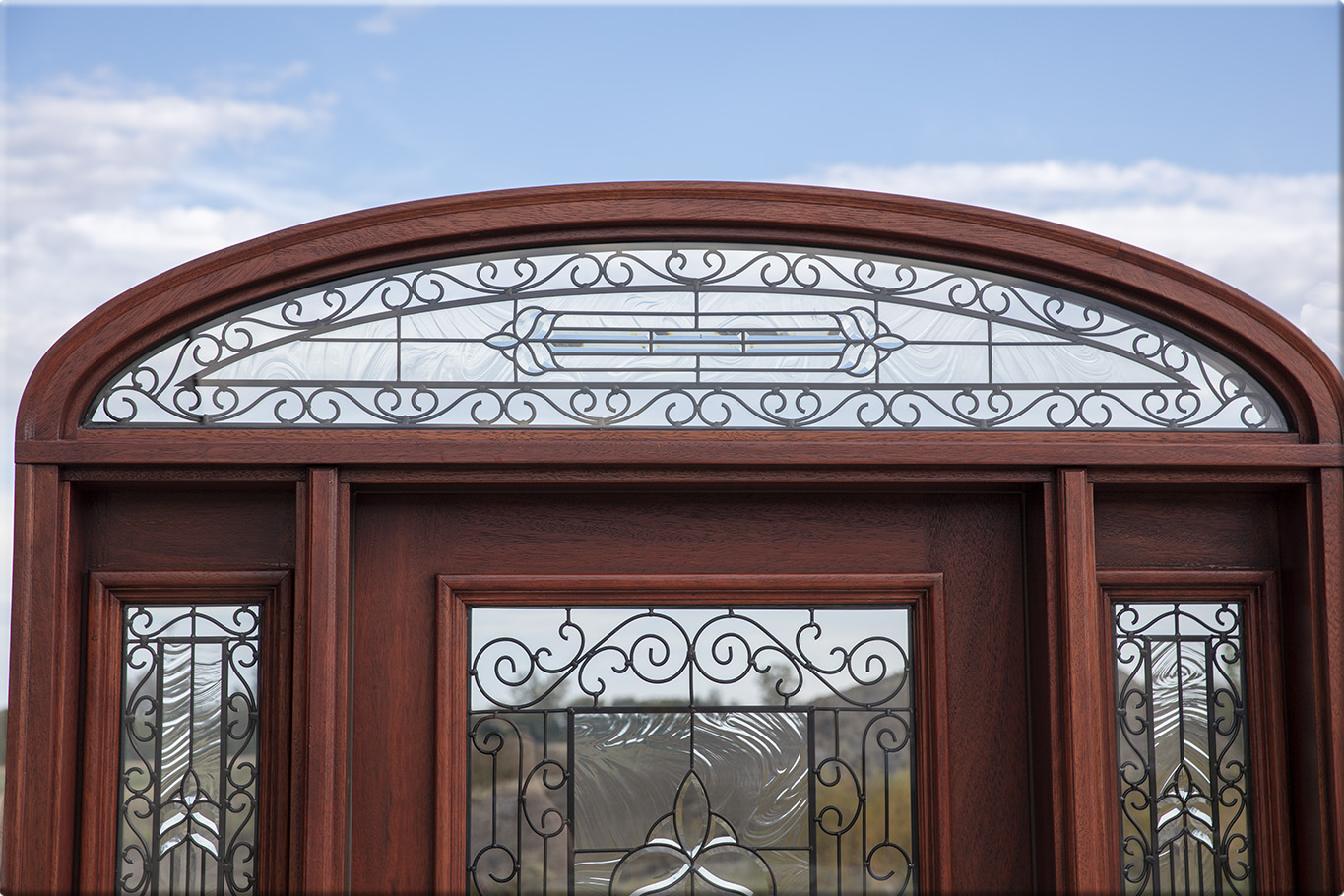 910 #2C5D9F Iron Classic Glass On Mahogany Exterior Door Arched Transom pic Entry Doors With Transom 40411365