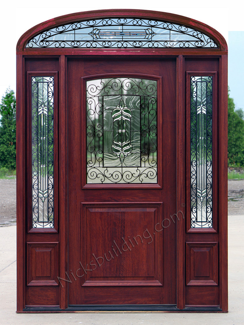 Iron Classic Glass 2 Panel Exterior Glass Door with Elliptical transom & Mahogany Doors with elliptical Transoms 6u00278