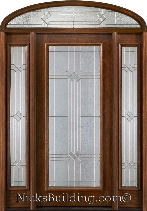 Mahogany doors with elliptical transoms 6 39 8 for Front door with transom above