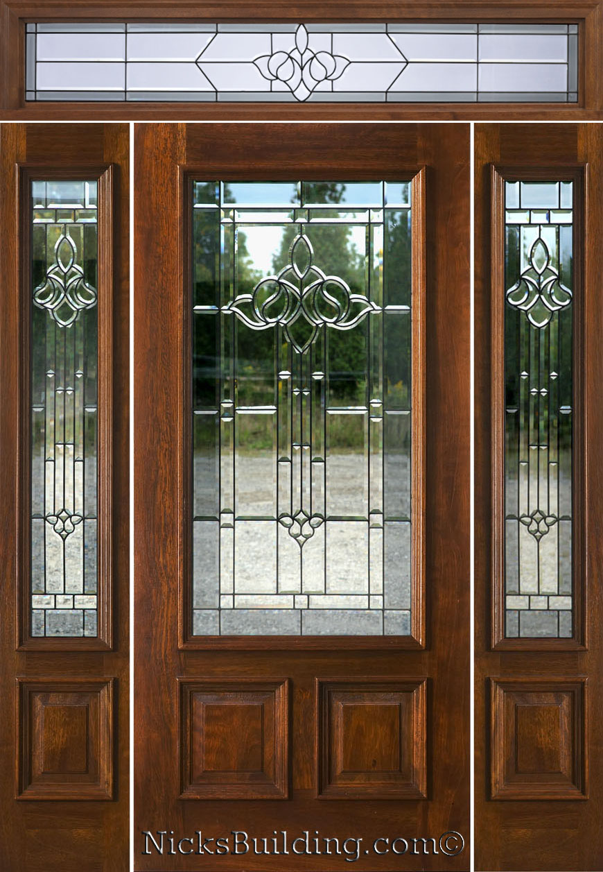 Mahogany exterior doors with sidelights and transoms 68 for Front entrance doors