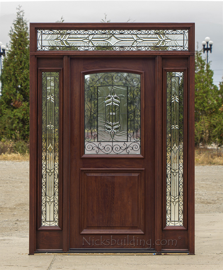 Mahogany exterior doors with sidelights and transoms 68 Prehung exterior door with sidelights