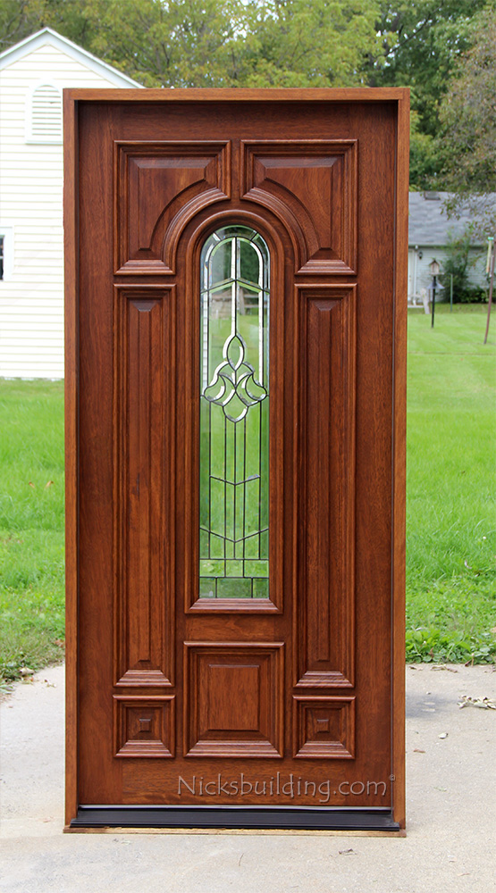 Single glass exterior door exterior single mahogany for Single front doors with glass