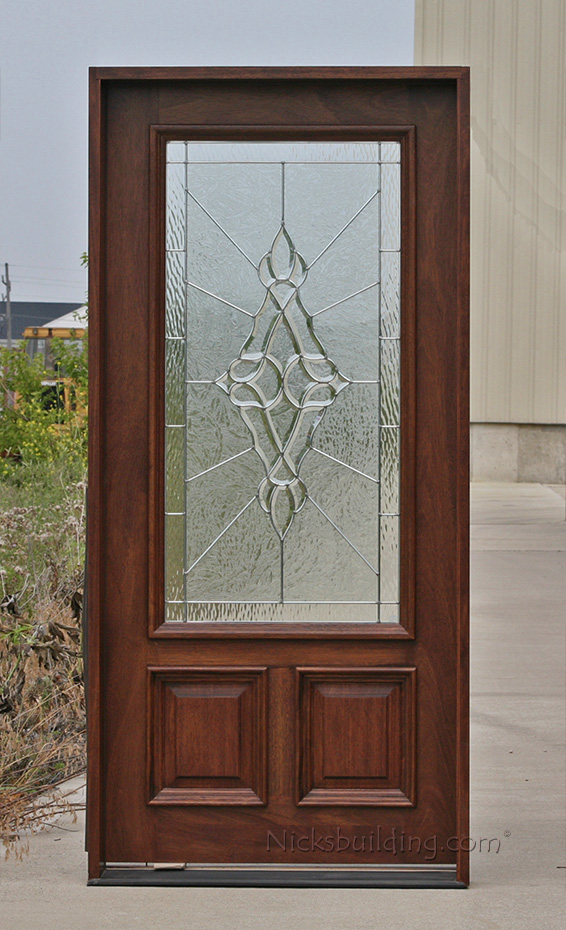 Exterior single mahogany doors for Half glass exterior door