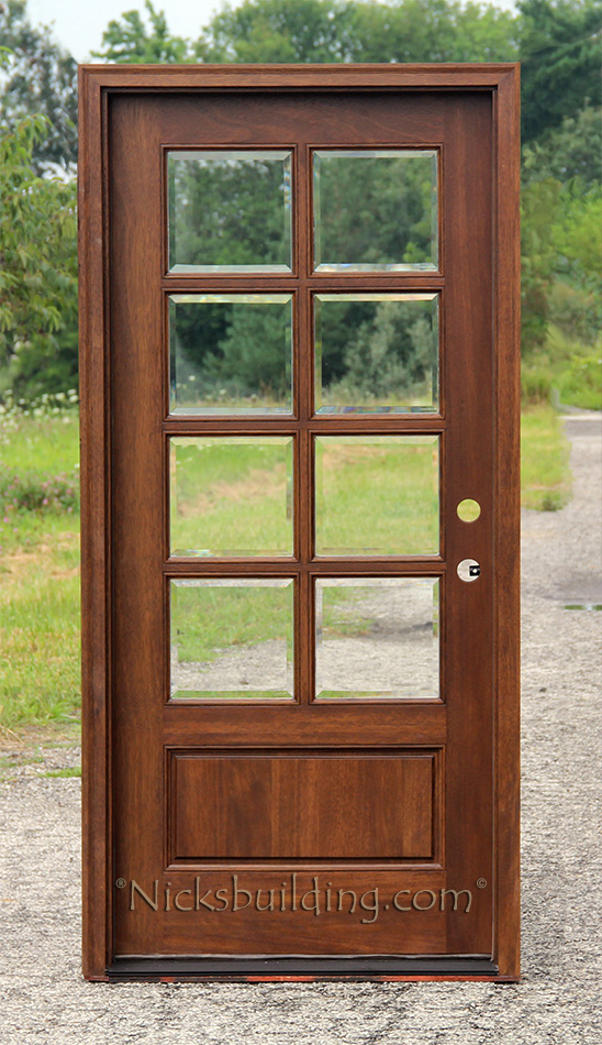 exterior single doors with divided lites 8lite with clear beveled glass - Single Exterior Doors