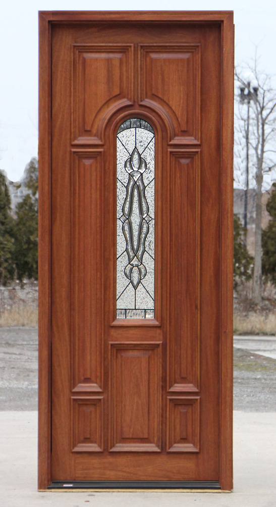Mahogany exterior single doors in 8ft height for Single front entry doors