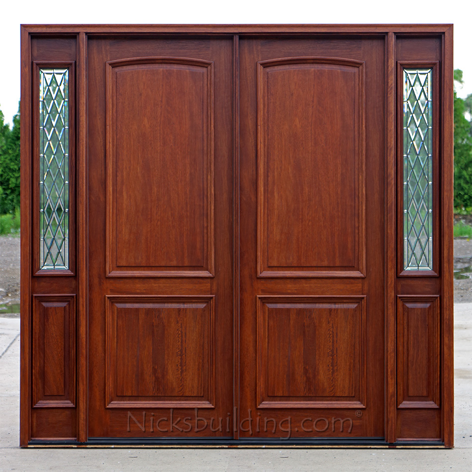 Double front door with sidelights for Exterior front entry double doors
