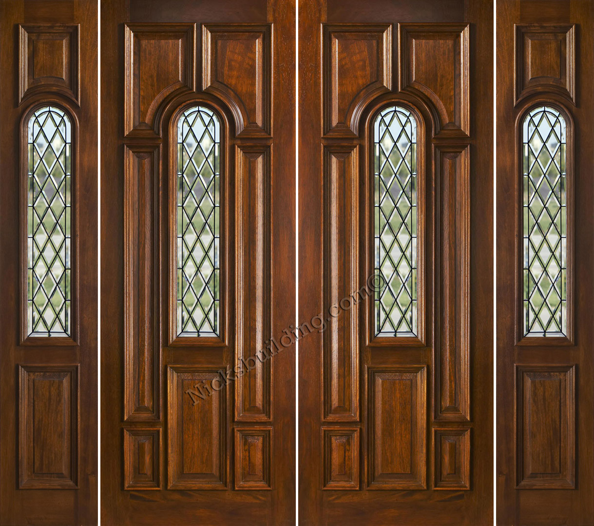 1080 #683B1D N525 Double Doors And Sidelights With Chateau Glass save image 8 Foot Front Doors 43771219
