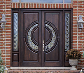 Modern Exterior Double Doors mahogany double doors with sidelights in 8ft height