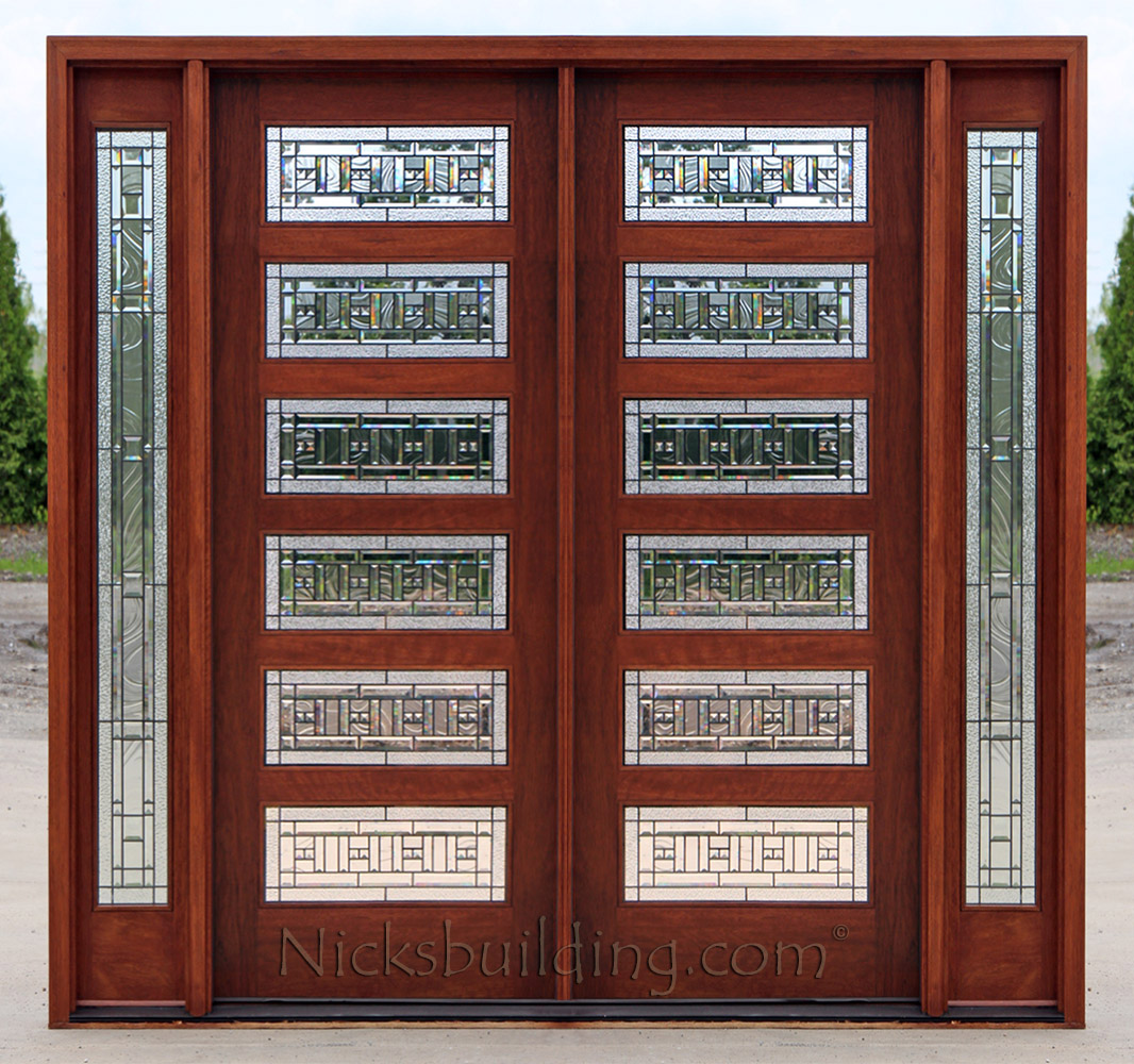 1000 #6D2E21 Mahogany Double Doors With Sidelights In 8ft Height picture/photo 8ft Entry Doors 42491066