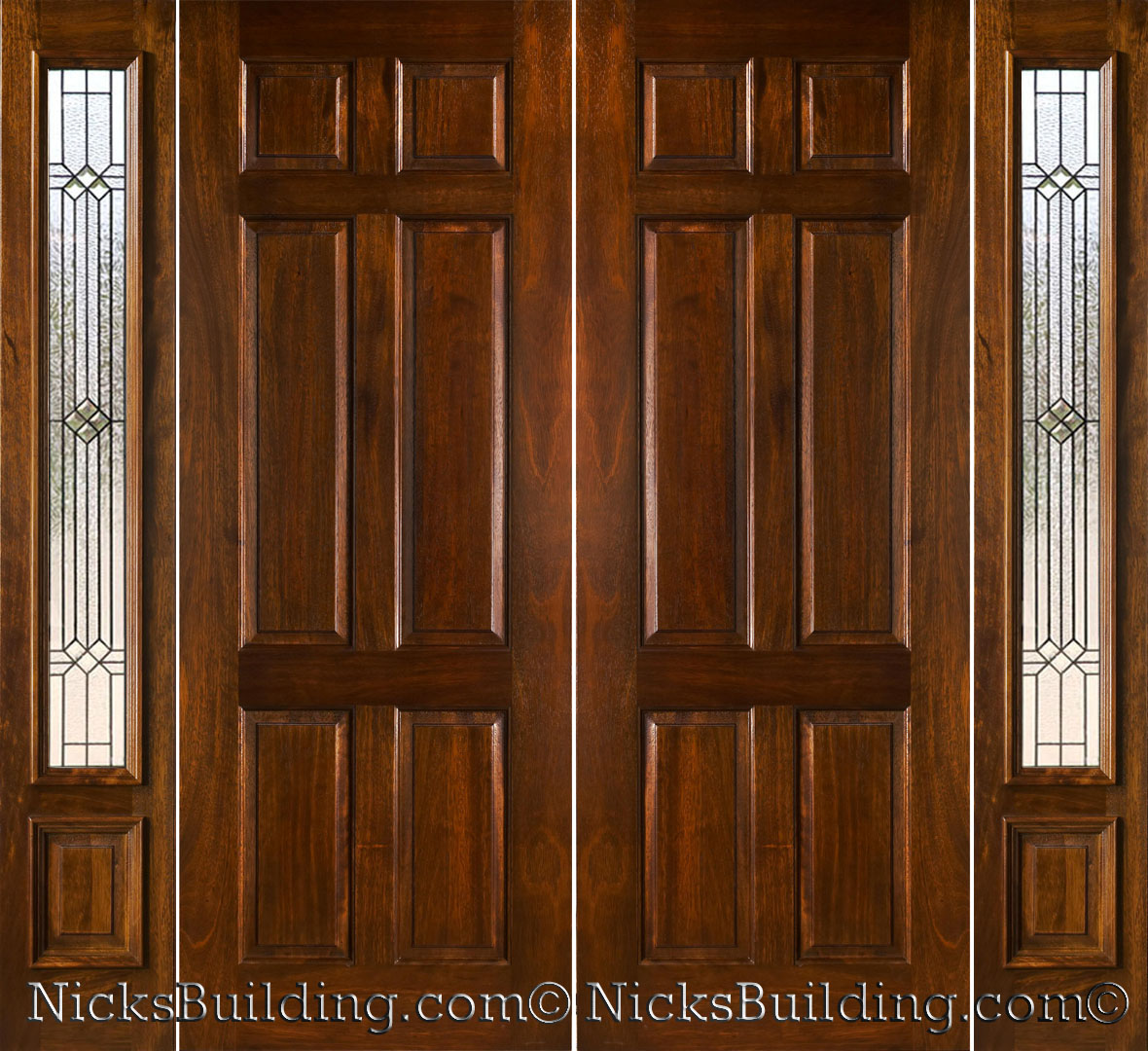Mahogany double doors with sidelights in 8ft height for 8 foot exterior doors