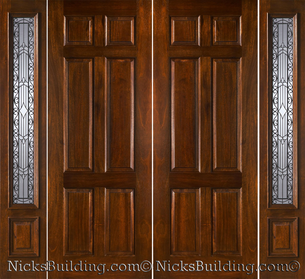 1080 #44240C Mahogany Double Doors With Sidelights In 8ft Height pic 8 Ft Exterior Doors 45111180