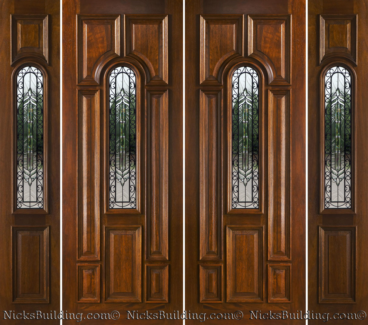1080 #683B1D Mahogany Double Doors With Sidelights In 8ft Height picture/photo 8ft Entry Doors 42491223