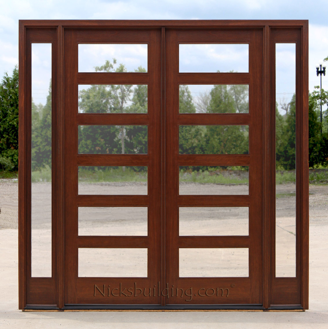 Mahogany double doors with sidelights in 8ft height for Double doors with glass