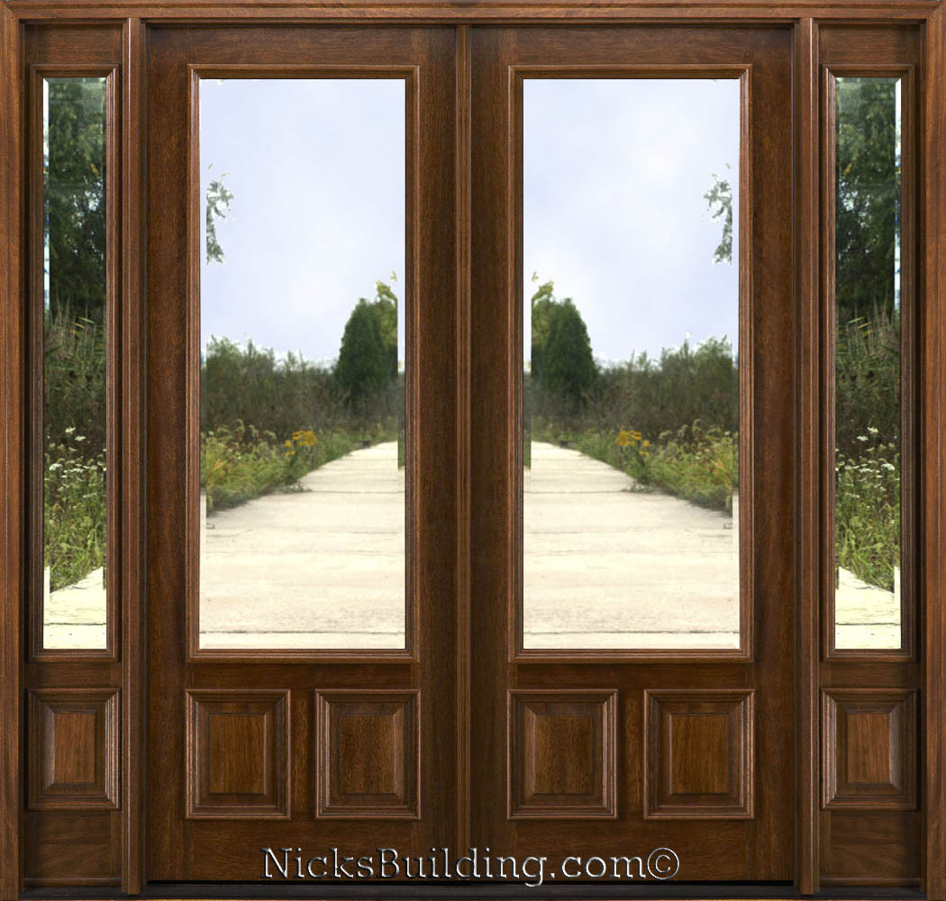 1000 #3F2C18 Mahogany Double Doors With Sidelights In 8ft Height image Exterior Doors With Sidelites 40931050