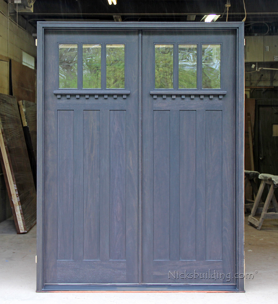with rain glass craftsman double doors exterior with clear glass - Exterior Double Doors