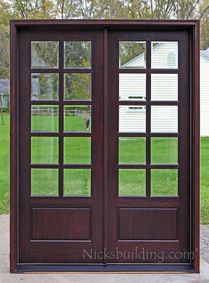 Exterior double doors solid mahogany double doors 8 0 for Double hung exterior french doors