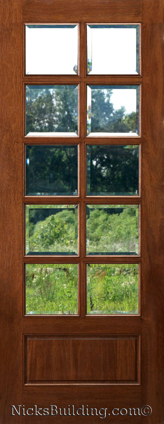 10 Lite Mahogany Door Insulated Clear Beveled Glass