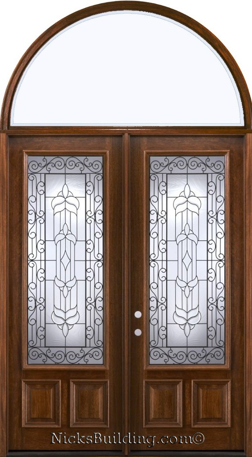 Exterior double doors with arched transom half round transoms for Half round transom