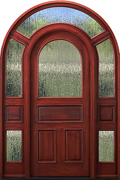 arched top door with surround rain glass