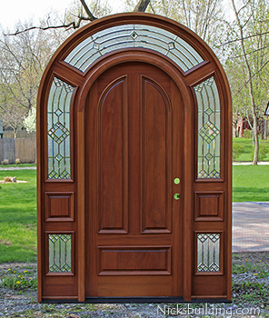 arched top African Mahogany Entry Door with Surround Transom Model 3003 & Mahogany Round Top Door | African Mahogany Doors | Arched Round Top ...