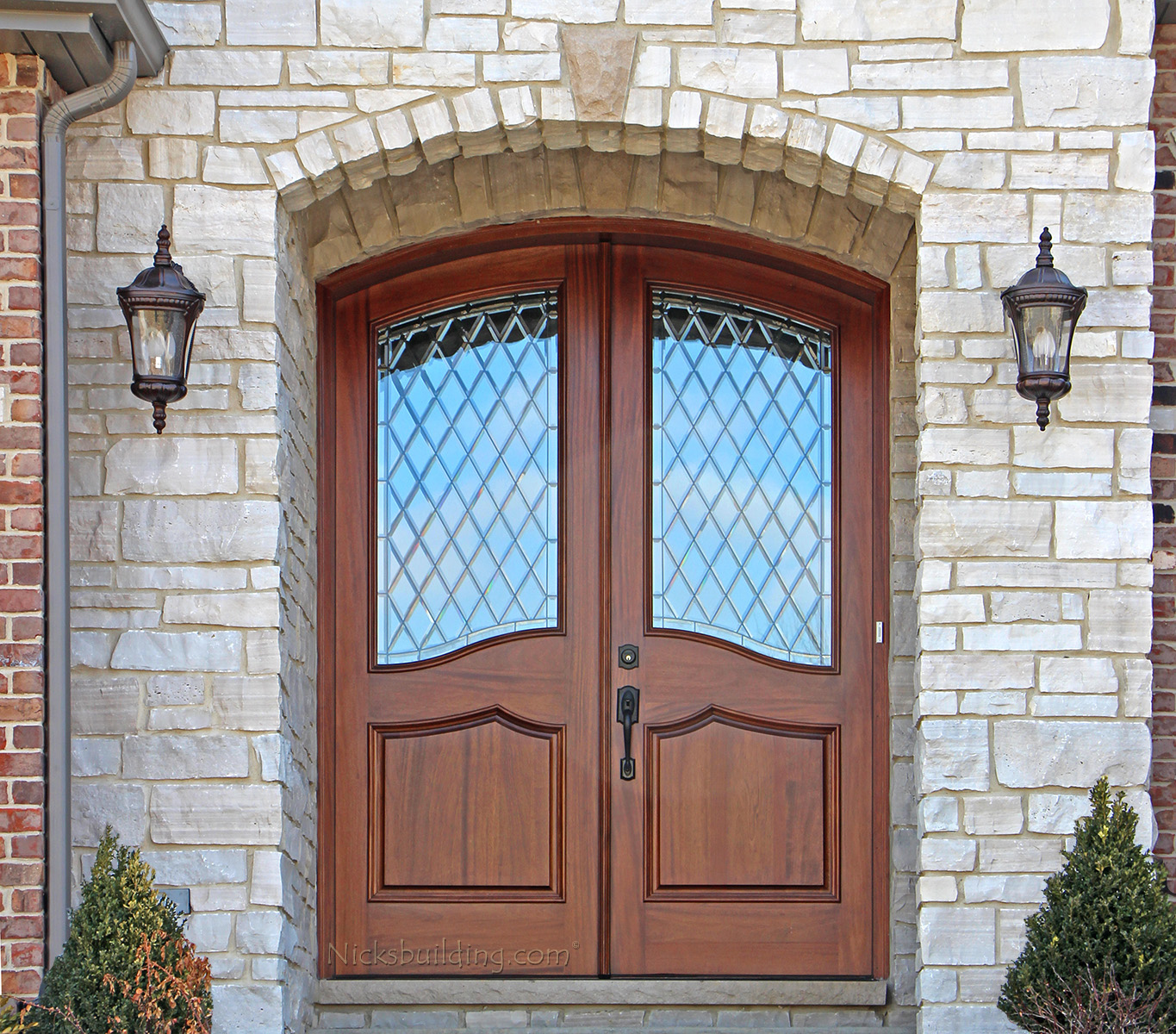 Mahogany round top door african mahogany doors arched for Front door with window on top