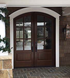 Arched Mahogany Exterior Double Door with Clear Glass in Michigan