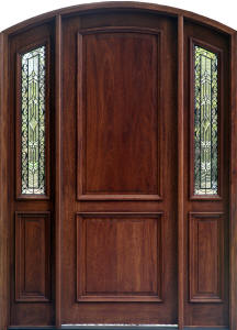 Exterior Mahogany Arched Doors with Arched Sidelights and Wrought Iron Glass