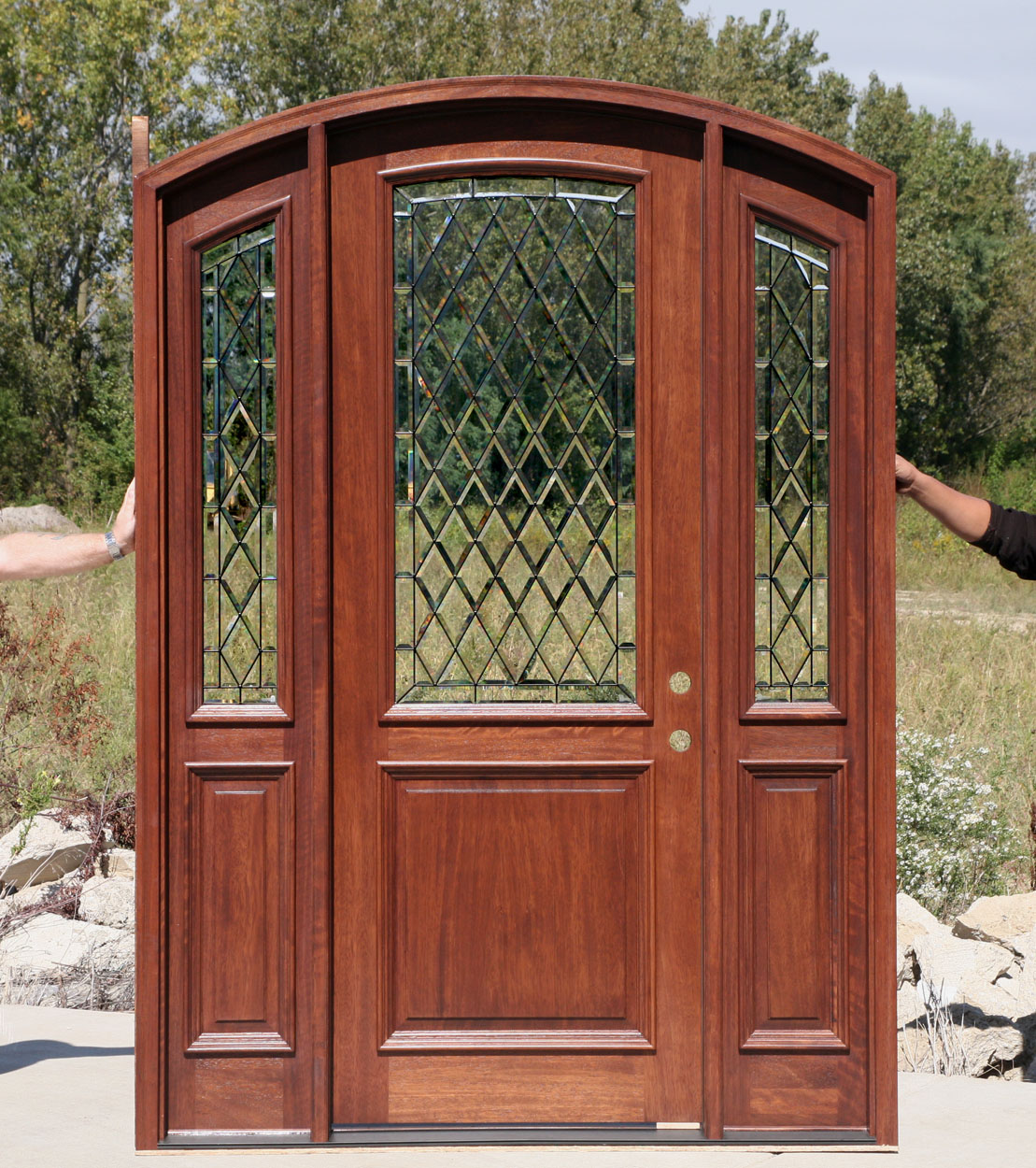 Arch top doors bellagio mahogany doors collection for Exterior doors with glass