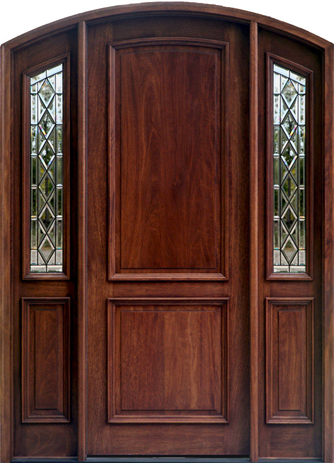 With Patina Came Arched Door System Solid Mahogany And Sidelights Clear Beveled Gl