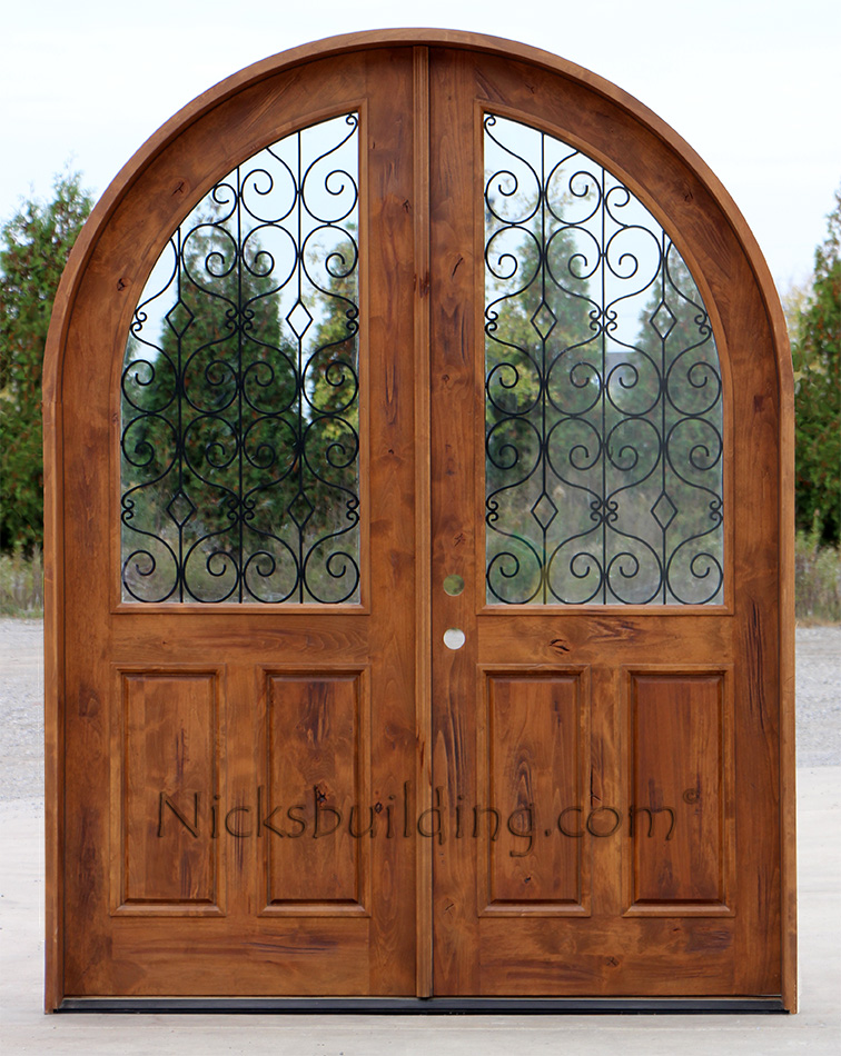 Double Doors Arched Top with Wrought Iron Glass
