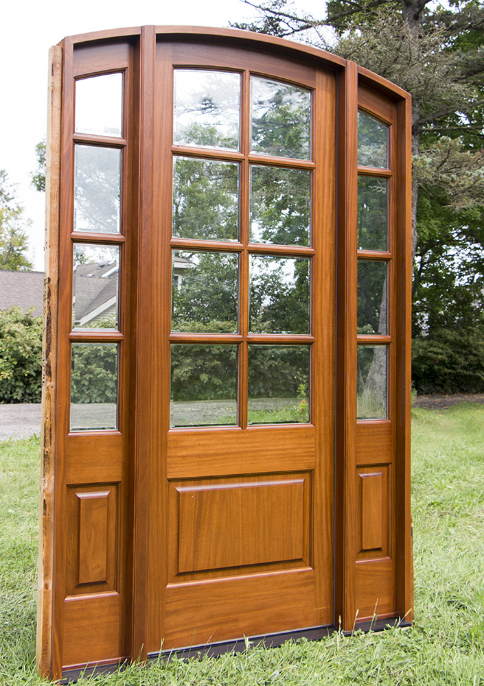 exterior mahogany arched door with sidelights ... & Sunrise French Doors Collection | Antique Cherry Finish pezcame.com