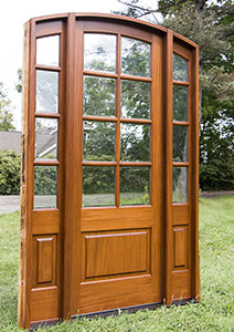exterior mahogany arched door with sidelights